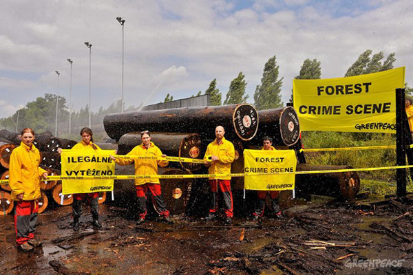 Greenpeace activists protesting Wenge wood shipment in the Czech Republic. Photo by:© Ibra Ibrahimovic / Greenpeace.