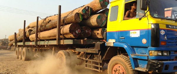 Truck carrying raw logs in Myanmar. Photo courtesy of the EIA.