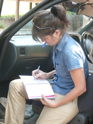 On the job: Canney taking notes in the field. Photo courtesy of Susan Canney.