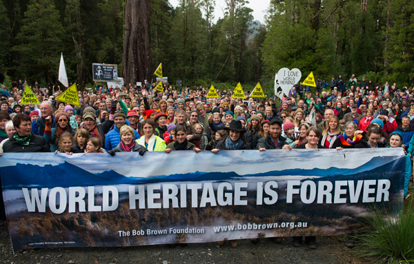 A recent rally to save the 74,000 hectares in the forests of the Upper Florentine Valley attracted around 2,000 people. Photo by: Matthew Newton.