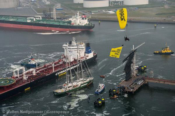 Greenpeace blocking the Mikhail Ulyanov from docking. Photo by: Reuben Neugbauer.