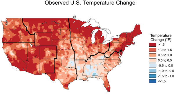 Like the rest of the world, the U.S. is warming rapidly: this map compares temperature shifts between 1991-2012 and 1901-1960. Map courtesy of NASA.
