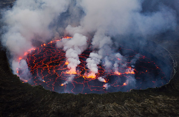 Famous lava lake in volcanic Mount Nyiragongo. Photo by: Cai Tjeenk Willink.