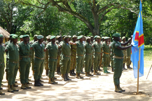 Park rangers on parade at the launch of more intensive anti-poaching methods in Garamba. Photo by: African Parks.