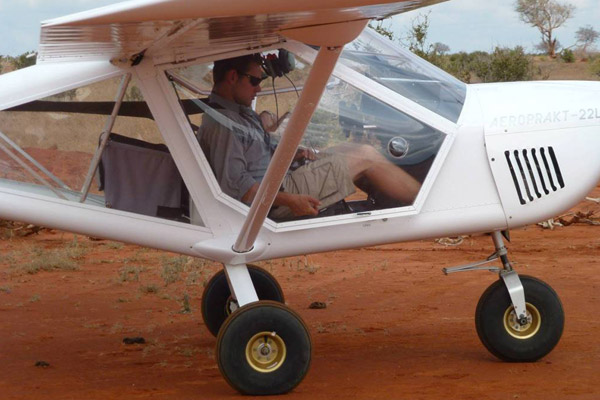 James Probert getting ready to take off to find hirola. Photo by: Alex Betts.