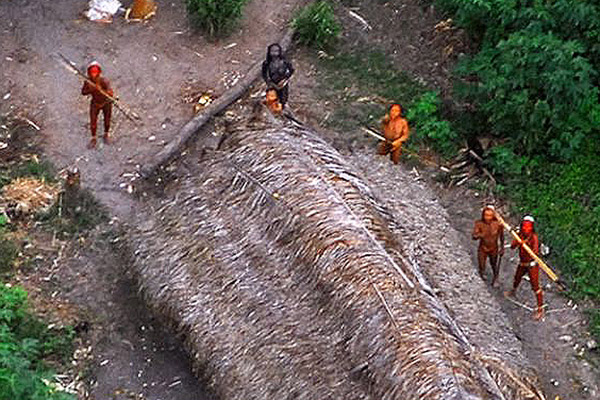 Close-up of uncontacted tribe in Brazil. Photo courtesy of the Government of Brazil.