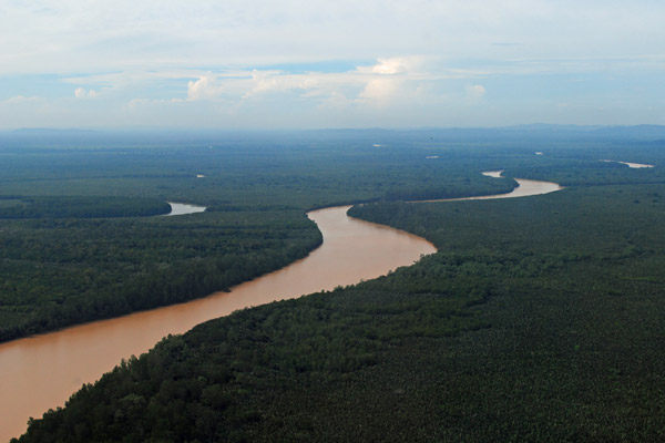 The Kinabatangan River winds through rainforest and palm oil plantations in the Malaysian state of Sabah on Borneo. Photo by: Axri Sawang/HUTAN.