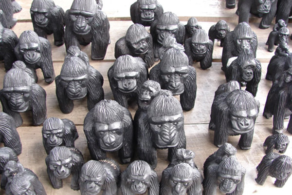 How does conservation benefit local people? Here carvings of gorillas in Uganda. Photo courtesy of: Doug Sheil.