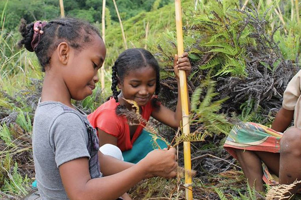 Children planting trees. Photo courtesy of the Madagascar Biodiversity Partnership and Conservation Fusion.