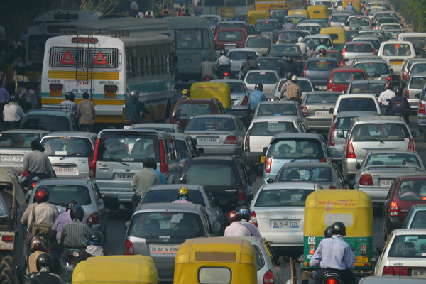 A traffic jam in New Delhi, the capital of India. Photo by: NOMAD/Creative Commons 2.0 License.
