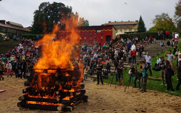 Rhino horn pyre burning. Photo courtesy of CITES Secretariat.
