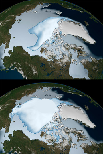 The image shows sea ice coverage in 1980 (bottom) and 2012 (top), as observed by passive microwave sensors on NASA's Nimbus-7 satellite and by the Special Sensor Microwave Imager/Sounder (SSMIS) from the Defense Meteorological Satellite Program (DMSP). Multi-year ice is shown in bright white, while average sea ice cover is shown in light blue to milky white. Adapted from WikiMedia.