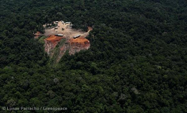 Odani sawmill in the middle of the Amazon. A new Greenpeace report alleges that this sawmill, and several others, are sourcing illegal timber. Photo by: © Greenpeace.