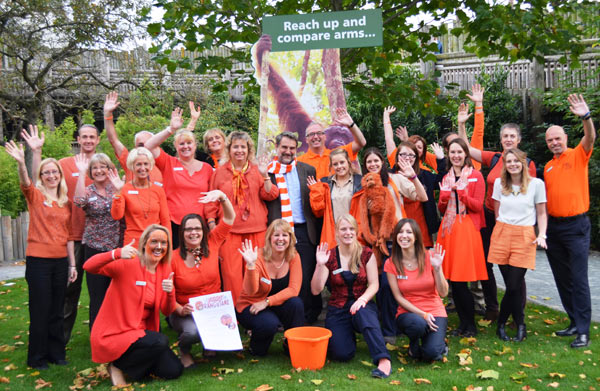 Zoo staff celebrating Go Orange for Orangutans. Photo courtesy of: Chester Zoo.