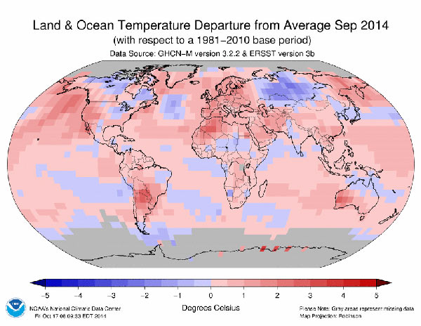 September 2014 as compared with average Septembers from 1981-2010. Photo by: NOAA.