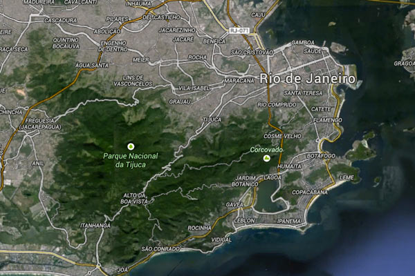 Google Earth view of Tijuca National Park surrounded by Rio de Janeiro. Photo by: Google Earth.