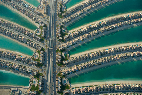 Artificial Islands, known as The Palms, in Dubai, built for luxury housing and resorts. Photo by: Alexander Heilner.