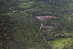Aerial view of secondary and primary forest, small-holder cassava cultivation, and forset clearing in the Amazon