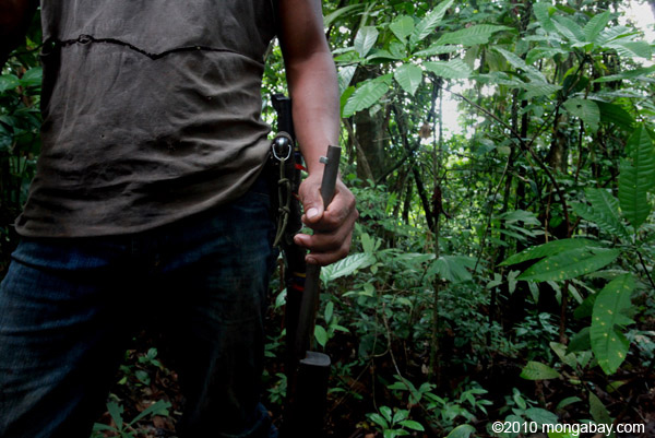 >Hunter in Colombia. Over-hunting is increasingly becoming a concern in the Amazon as well. Photo by: Rhett A. Butler.