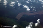 Aerial view of oil palm plantations on peatlands in Sumatra