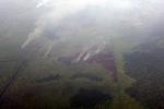 Aerial vew lahan gambut terbakar di Indonesia, Propinsi Kalimantan Barat