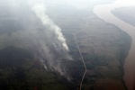 Aerial vew of burning peatlands and forest in Indonesian Borneo [kalbar_1260]