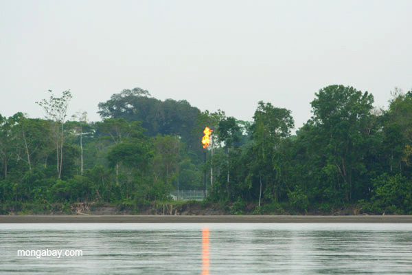 Oil tower flaring gas just across the river from Yasuni National Park. Photo by: Jeremy Hance.