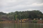 Road work in the forest along the Panama canal