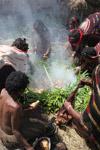 Tribal Dani women cooking sweet potato [papua_0602]