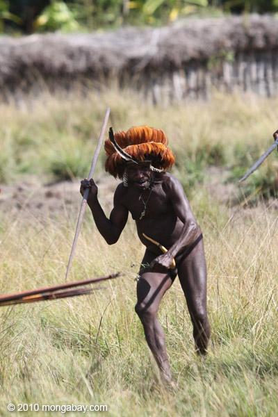 Dani men in ceremonial battle [papua_5455]