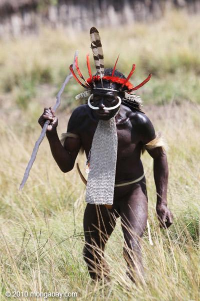 Dani men in ceremonial battle [papua_5461]