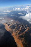 Overhead view of the Ro Huaypetue gold mine in Peru