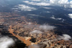 Airplane view of the Río Huaypetue gold mine in Peru