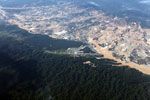 Aerial view of deforestation caused by the Río Huaypetue gold mine in Peru