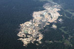 Open pit Lamal gold mine in Peru's Madre de Dios Department