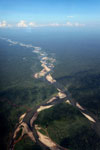 Aerial photograph of a rainforest river