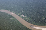 Airplane view of deforestation along a river in the Peruvian Amazon