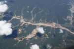 Aerial picture of gold mining damage in the Peruvian Amazon