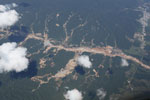 Aerial photo of gold mining damage in the Amazon rainforest