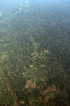 Airplane photo of mosaic deforestation in the Peruvian Amazon
