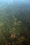 Overhead view of mosaic deforestation in the Peruvian Amazon