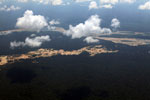 Amazon rainforest landscape scarred by gold mines
