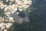 Amazon rainforest landscape scarred by open pit gold mines