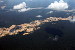 Overview view of Amazon landscape scarred by open pit gold mines
