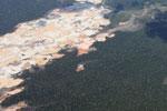 Massive gold mining area in the Amazon
