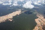 Aerial view of a massive gold mining area in the Amazon