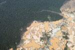 Aerial view of a massive gold mining area in Peru's Amazon region