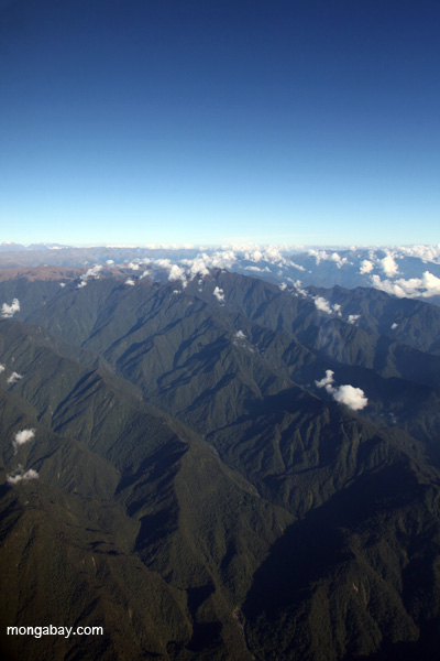 According to new research, the rise of the Andes are responsible for splitting the Amazon forest into distinct ecosystem. Pictured here: the Peruvian Andes. Photo by: Rhett A. Butler.