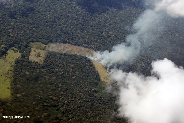 Burning in the Peruvian Amazon. Such burning produces significant soot (as well as carbon), which disrupts rainfall, poses health hazards, and warms the Earth. Photo by: Rhett A. Butler. Photo by: Rhett A. Butler.
