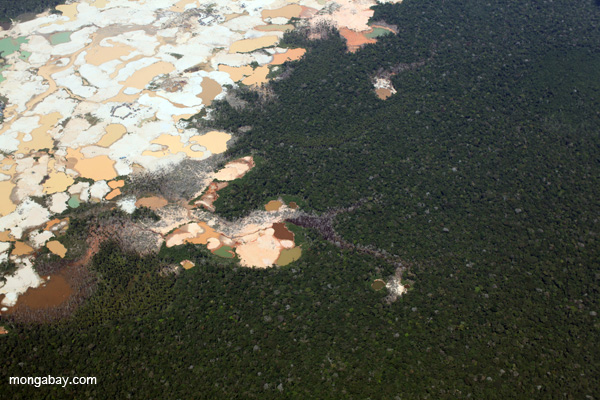 Peruvian Amazon scarred by open pit gold mining. Photo by: Rhett A. Butler.